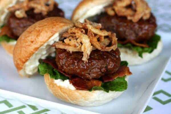 BBQ Bacon Burgers with Blue Cheese and Crispy Onions