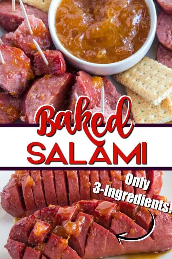Baked salami appetizer