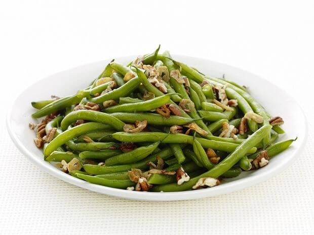 Garlic String Beans with Nuts in a White Bowl