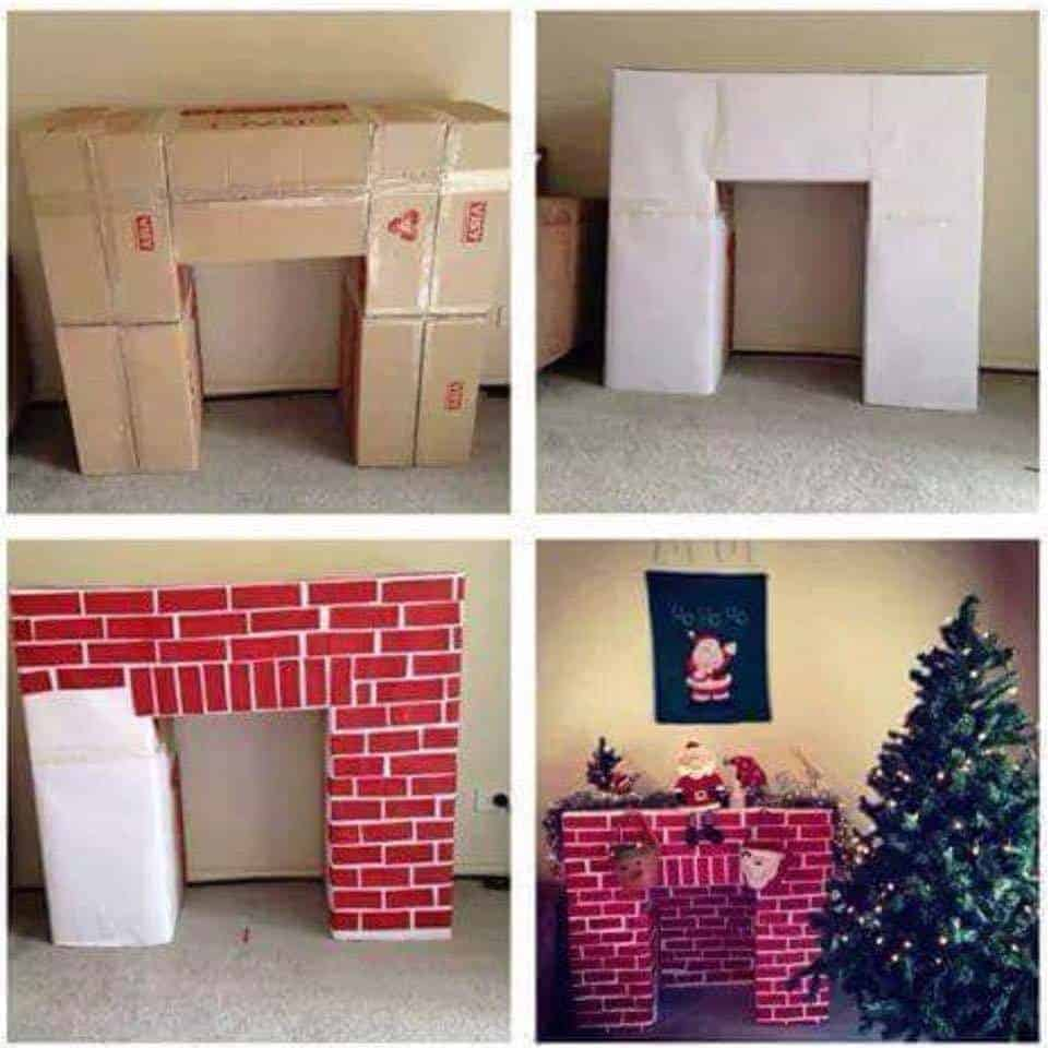Make a fireplace out of cardboard boxes