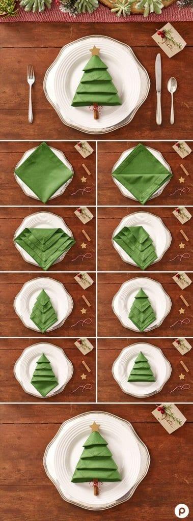 How to fold a Christmas Tree Napkin
