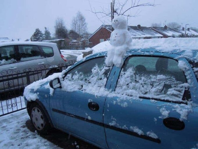Make a mini snowman on someones car and other great ideas for the snow