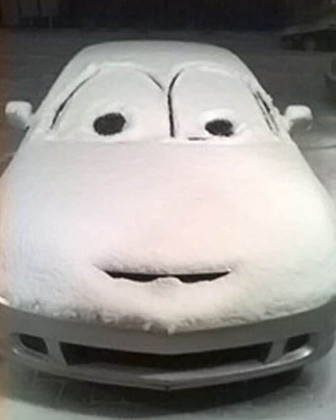 Make a snow face on a car and other fun things to do in the snow