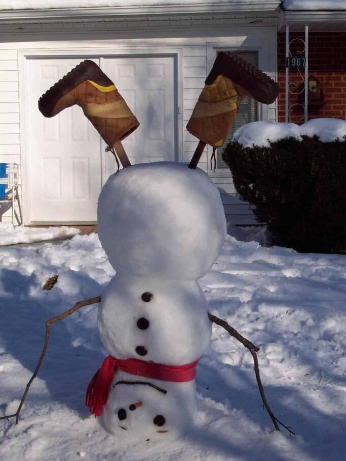Make an upside down snowman and other great snow day activities