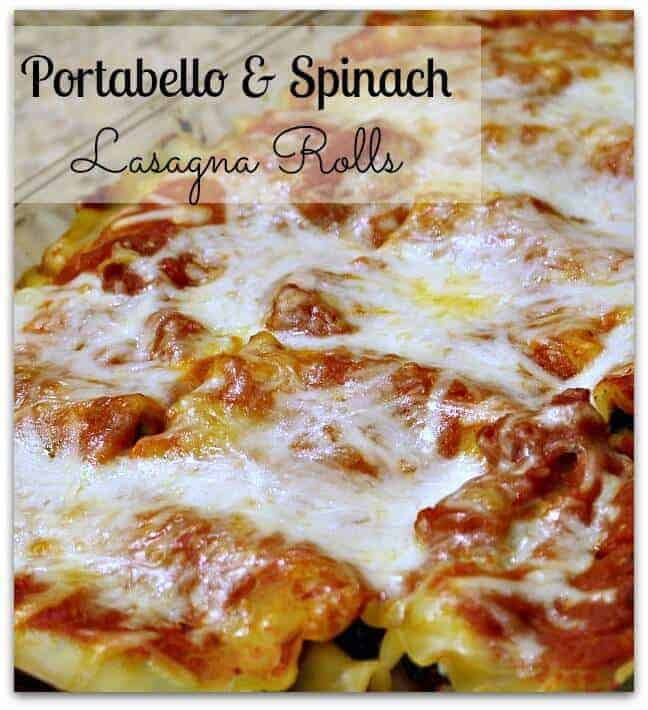 Portabello and spinach lasagna rolls