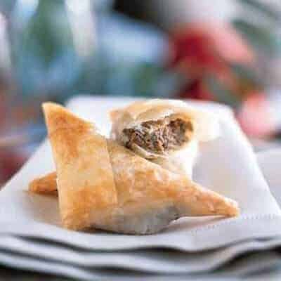 mushroom and goat cheese triangles