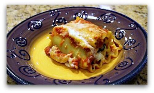 Portabello and spinach lasagna rolls