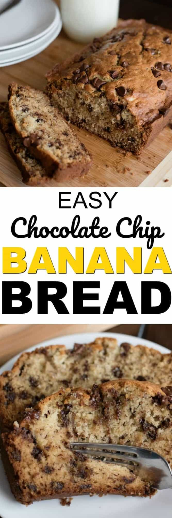 The best Chocolate Chip Banana Bread recipe. This easy to make, super moist banana bread recipe will be your go-to recipe anytime you have overripe bananas on your counter!