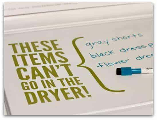Use dry erase marker on washing machine