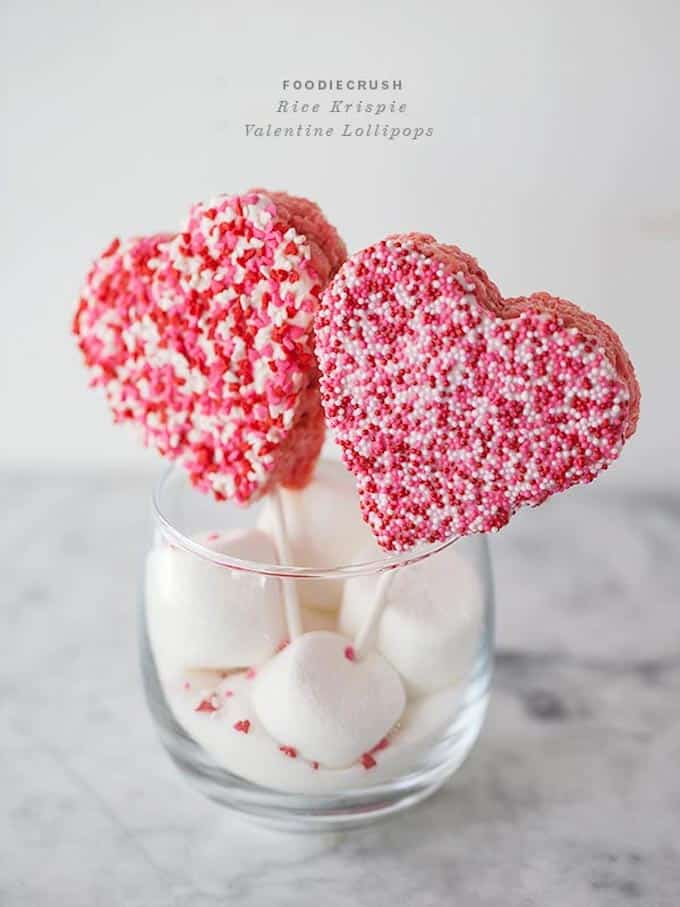 Valentines Rice Krispie Lollipops by Foodie Crush
