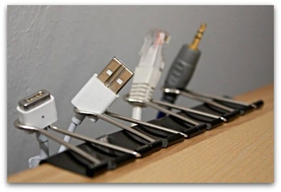 binder clip as your simple cable organizer