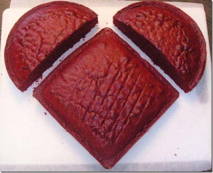 heart cake made from a square and circle cake