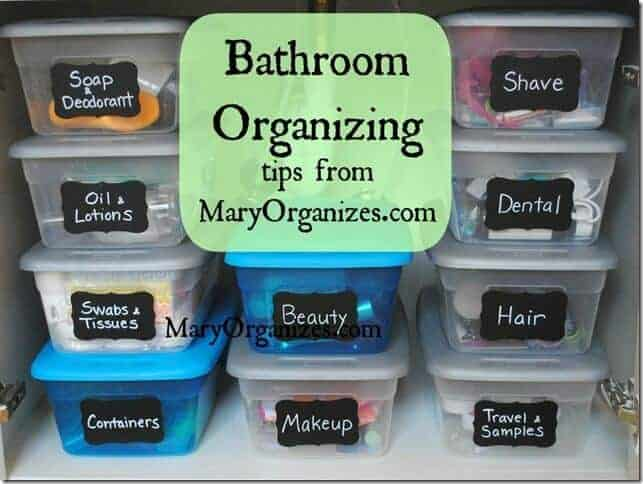 bathroom organization bins