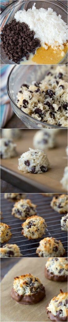 Chocolate Chip Coconut Macaroon Recipe dipped in chocolate! This 4 ingredient coconut macaroons recipe will be your new favorite! Perfect Christmas cookie swap or Passover! We have everything covered!