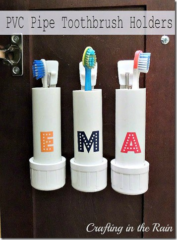 pvc toothbrush holders for an organized bathroom