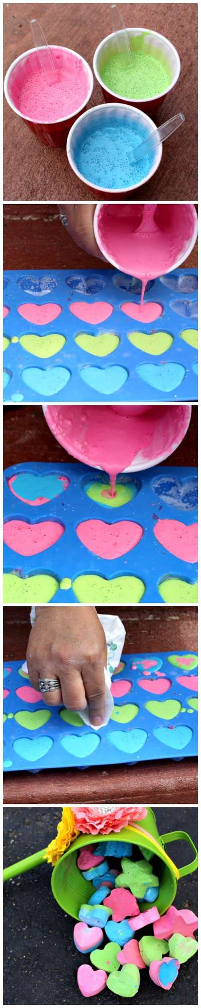 DIY sidewalk chalk it is cheap to make and you can make any shape you want! You only need three ingredients and a mold and you are on your way to non-stop summer fun!