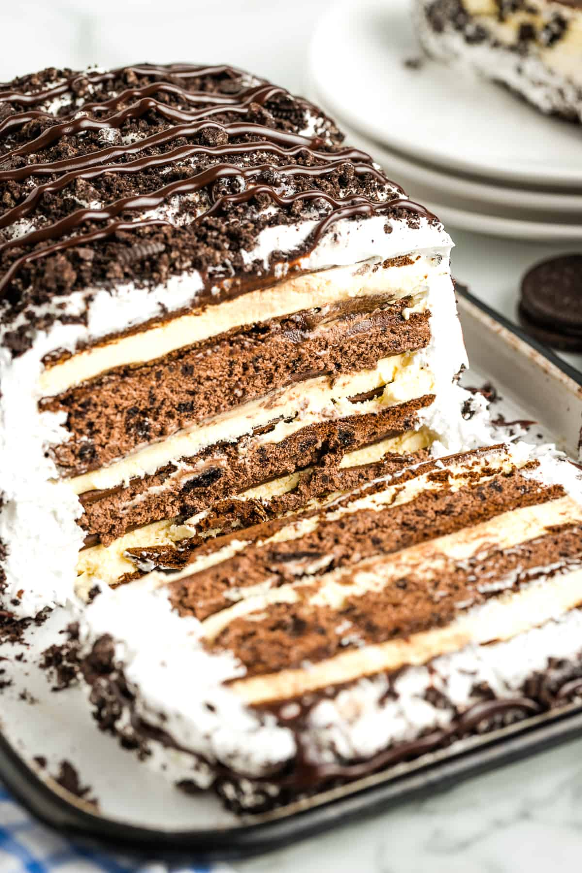 No Bake Ice Cream Sandwich Cake with a slice
