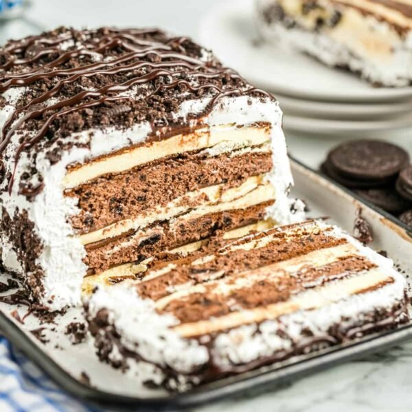 No Bake Ice Cream Sandwich Cake with a slice out of it