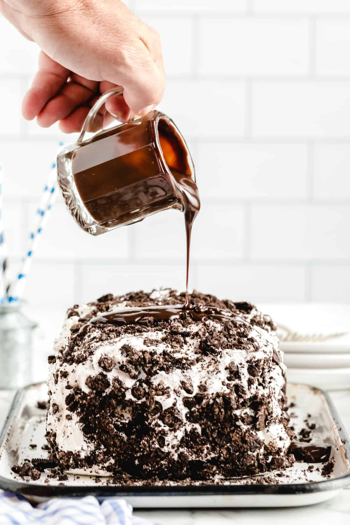 No Bake Ice Cream Sandwich Cake with hot fudge