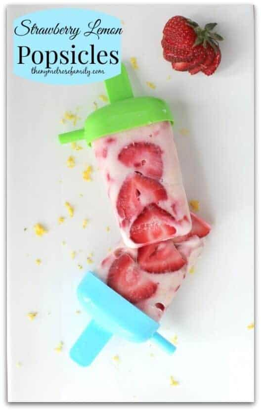 Strawberry Lemon Popsicles with Greek Yogurt