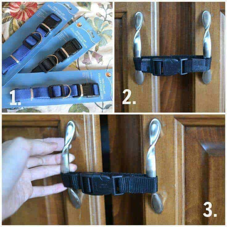 Use dollar store dog collars for baby proofing - GREAT Parent Hack!