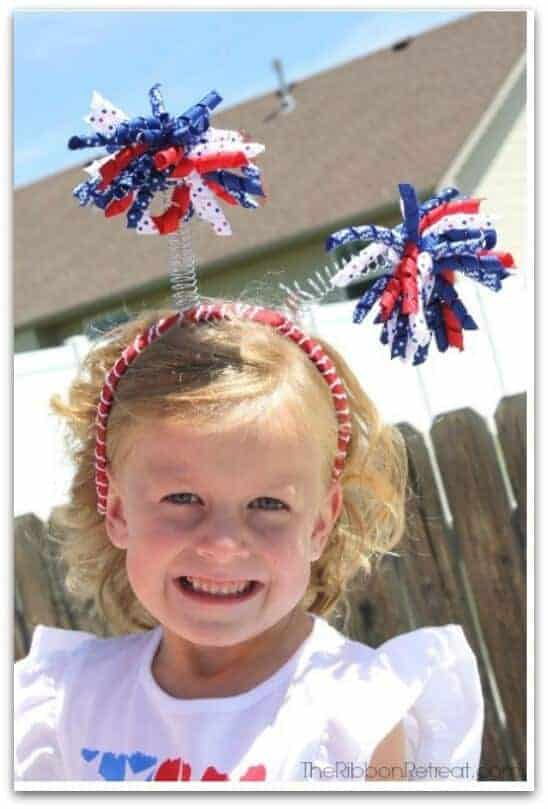 4th of July Ribbon and Antenna Headband