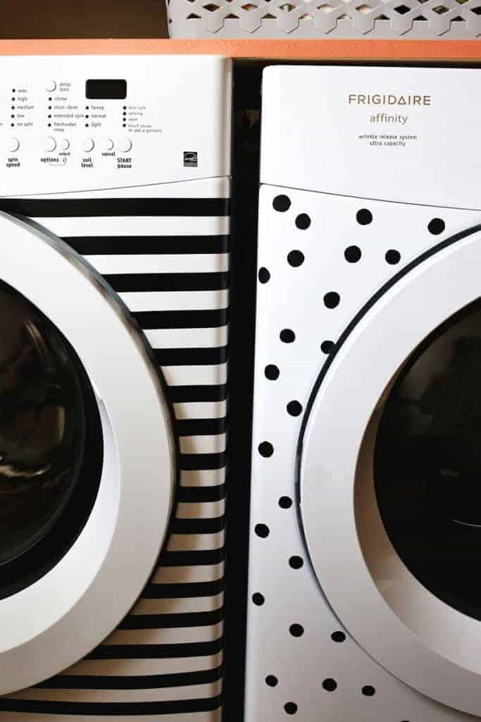 Cute up your old appliances with a a little electrical tape and paint from A Beautiful Mess