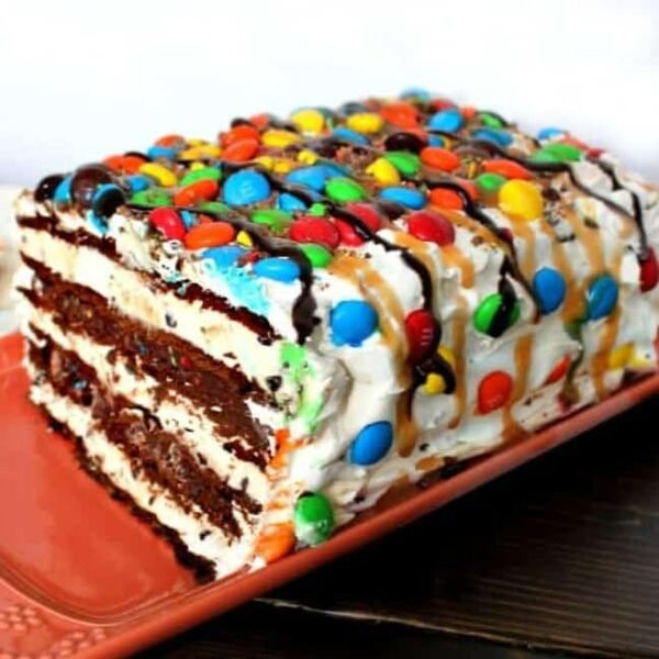 Super Easy M&M Ice Cream Sandwich Cake