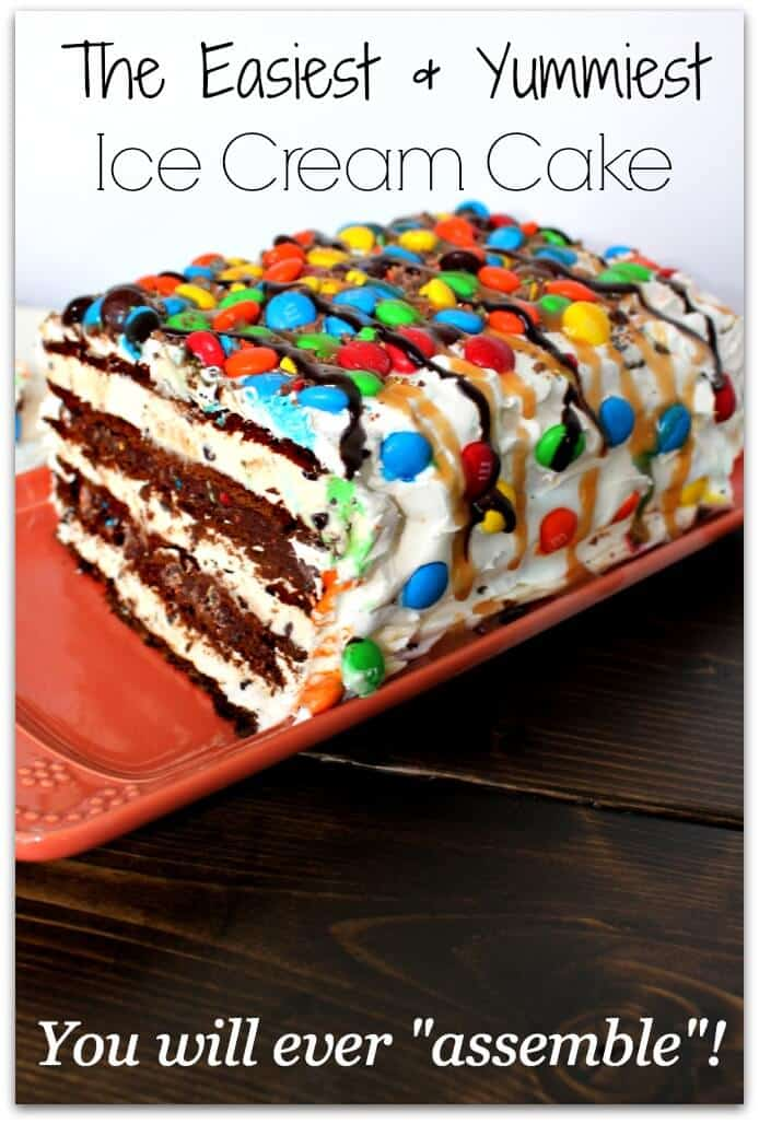 M&M Ice Cream Sandwich Cake