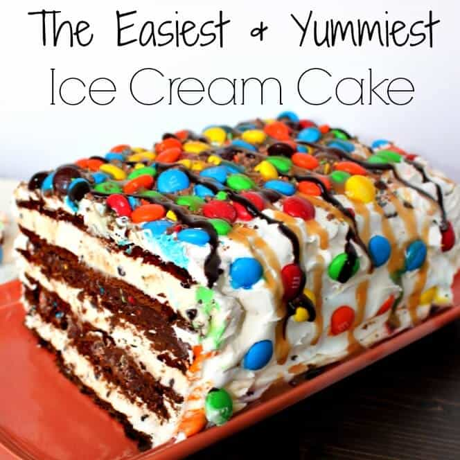 SUPER easy M&M ice cream cake - your new favorite easy dessert recipe