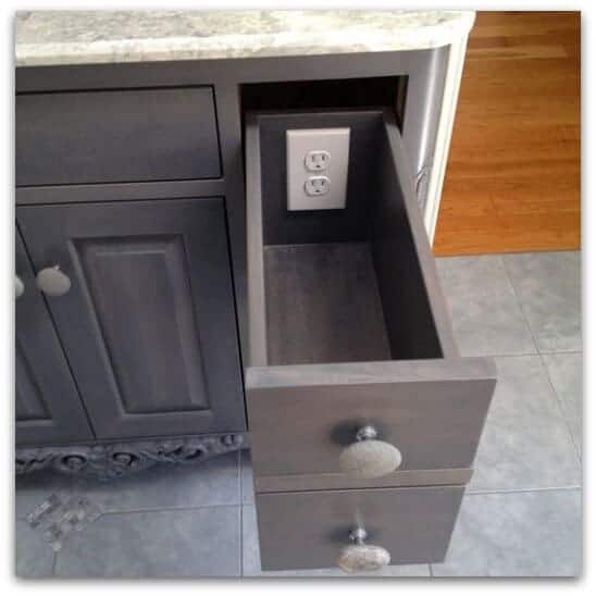 Outlet in bathroom vanity