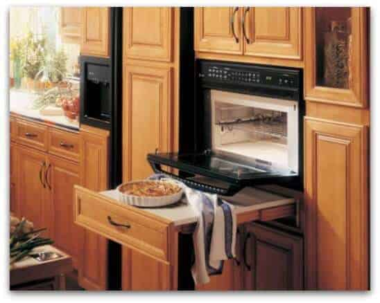 pull out counter under oven