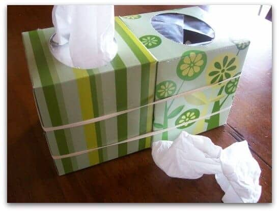 tissue box and garbage