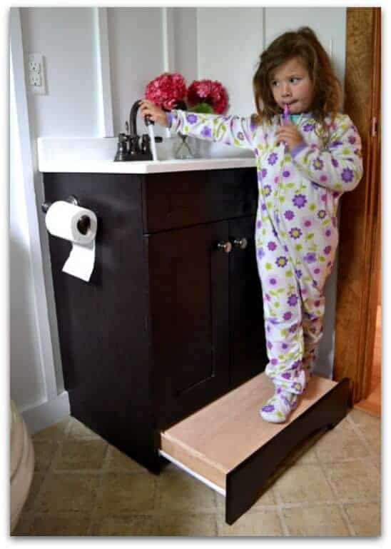 vanity drawer step stool