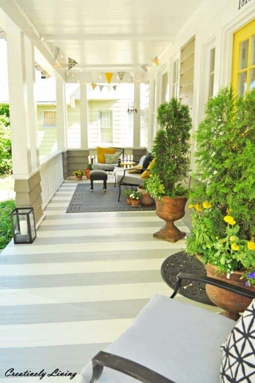 Striped Porch from Creatively Living