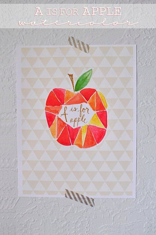 A is for Apple Watercolor from Delineate Your Dwelling