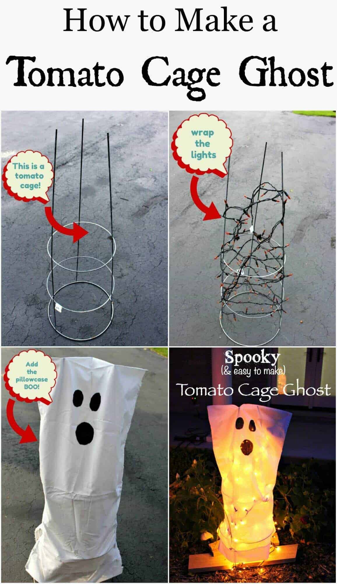 How to Make Your Own Tomato Cage Ghost - only 4 things needed and 15 minutes to make this adorable DIY Halloween Decoration