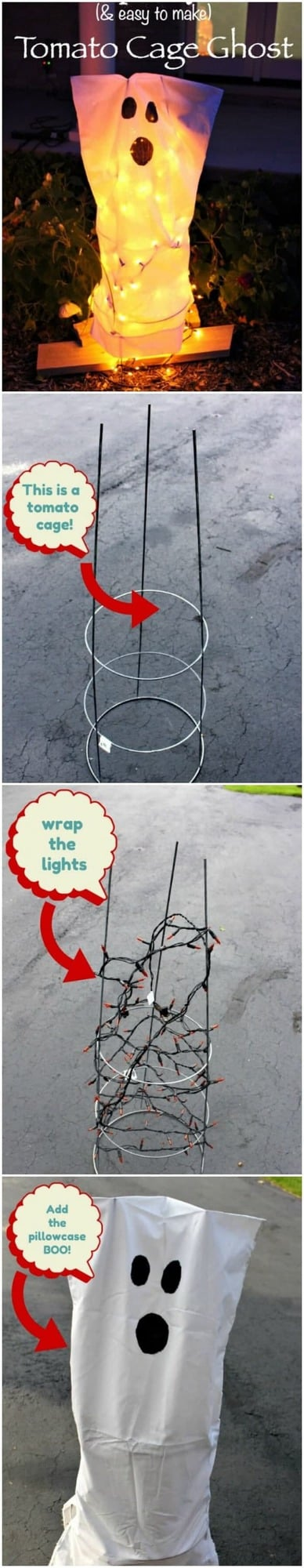 How to make a Tomato Cage Ghost - easy to follow instruction for this great DIY Halloween Decoration