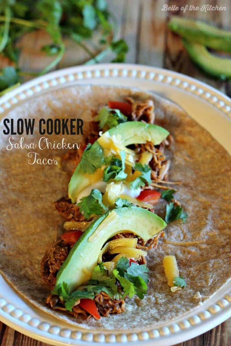 Slow Cooker Salsa Chicken from Belle of the Kitchen