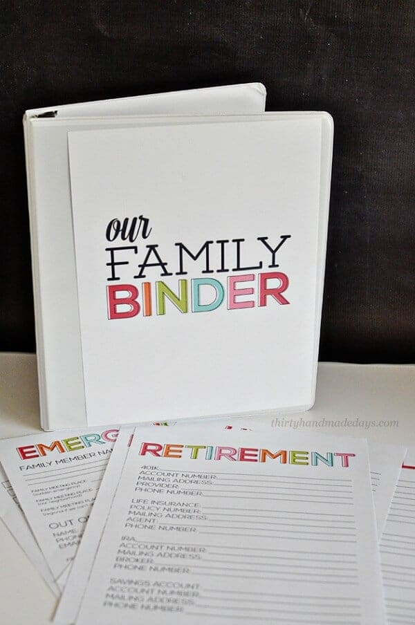 family binder organization