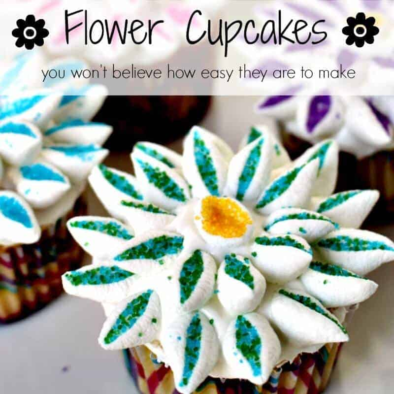 flower cupcakes square words
