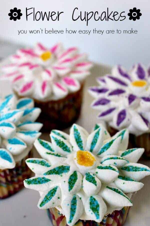 flower cupcakes with caption