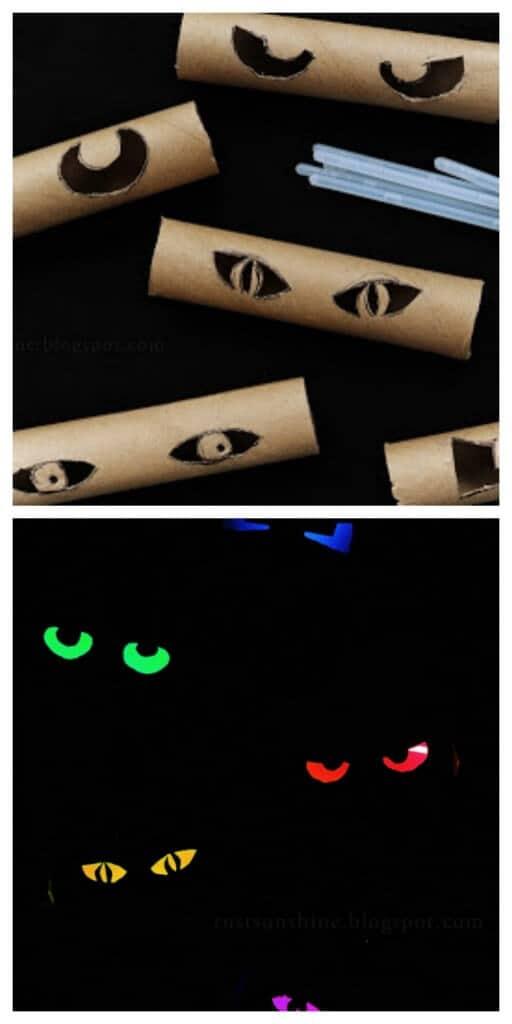 spooky eyes from toilet paper rolls