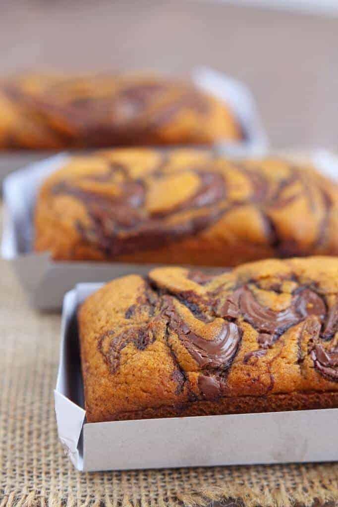 Nutella Swirled Pumpkin Bread from Carmel Moments