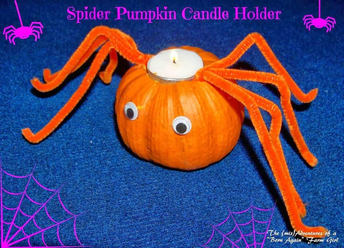 Spider Pumpkin Candle Holder by Born Again Farm Girl
