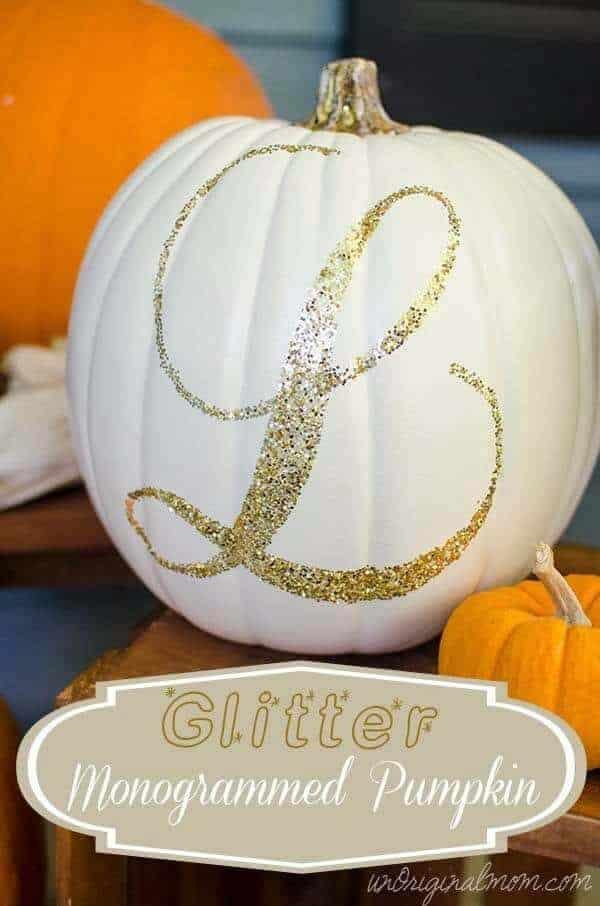 glitter monogrammed pumpkin