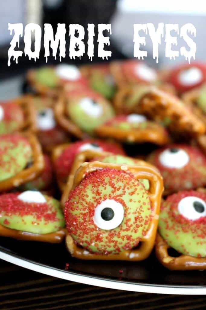 Zombie eyeballs pretzels princess pinky girl zombie eyeball pretzels super easy and fun halloween treat forumfinder Images