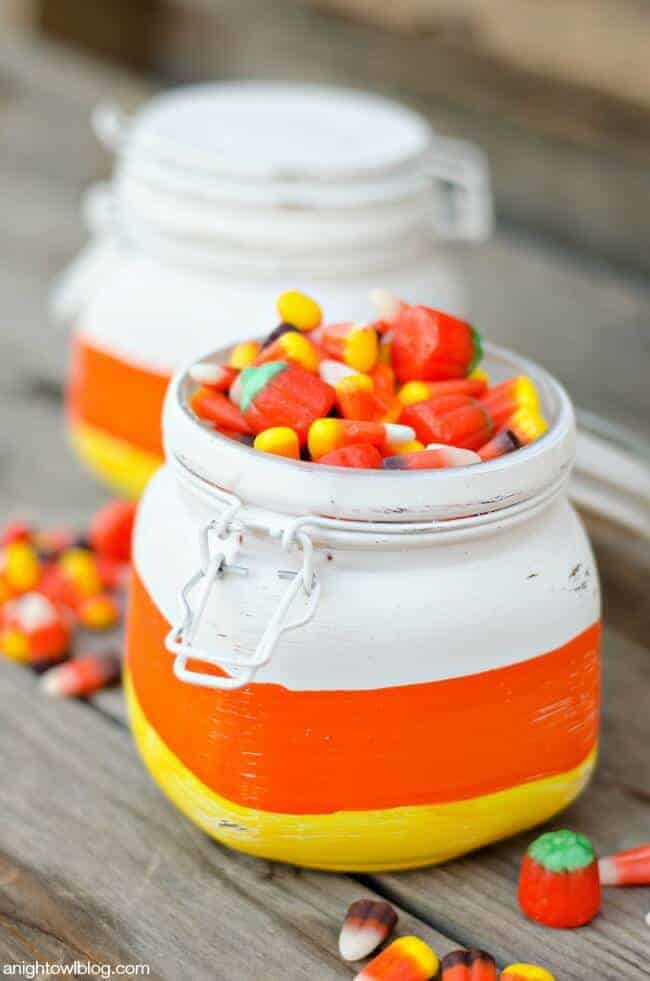 Candy Corn Gift Jars from A Night Owl Blog
