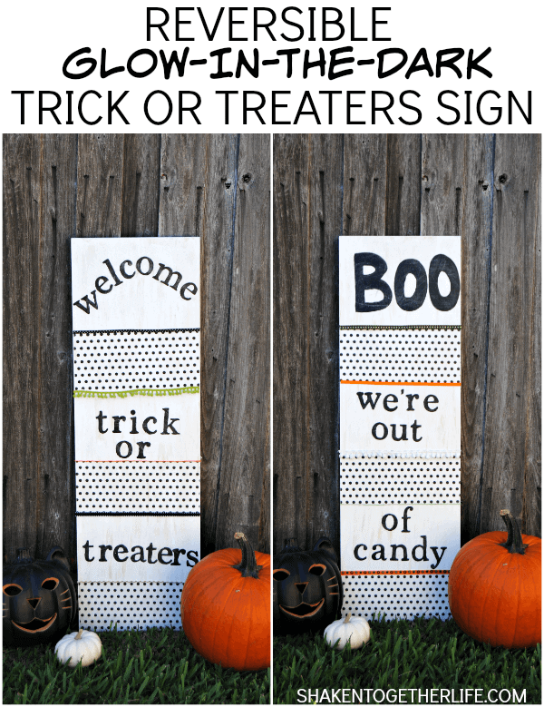 Glow in the Dark Trick or Treat Sign by Shaken Together
