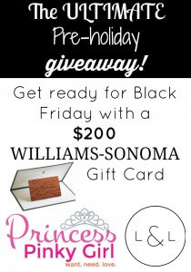 $200 Williams Sonoma Gift Card Giveaway!